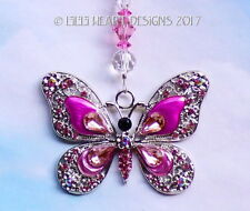 Rhinestone Hot Pink Butterfly Suncatcher m/w Swarovski Beads Lilli Heart Designs