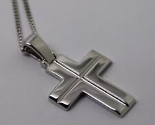 NEW GENUINE HEAVY 18CT 750 WHITE GOLD CROSS PENDANT AND 18CT KERB CHAIN