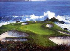 "Larry Dyke ""The 7th"" at Pebble Beach Golf Print  12"" x 9"""
