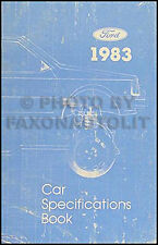 1983 Lincoln Service Specfications Manual Town Car Continental and Mark VI Book