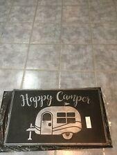 """Outdoor Rubber """"Happy Camper"""" Black Door Mat/Rug. 32"""" X 18"""". NEW."""