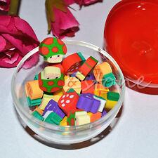 50Pcs Mini Cute Fruit Rubber Pencil Eraser Children Children Stationery Gift Toy