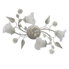 Lustre plafonnier rustique floral design en métal, céramique et verre blanc