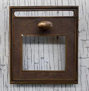 "Vintage USPS Brass Post Office Box Door 5.5"" Unmarked, Letter Slot Window"