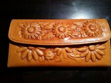 Mexican hand tooled 100% leather trifold wallet , burnt orange with margaritas