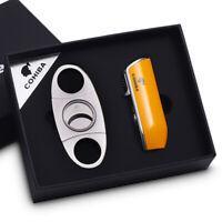 COHIBA Windproof 3 Torch Jet Flame cigar lighter cutter set Butane Gas Metal