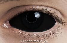 Farbige Crazy & Fun Sclera Kontaktlinsen 22 mm - BLACK SCLERA + Behälter!