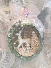 Shabby Chic White Christmas Tree Reindeer Pink Roses Bow Diorama Glass Ornament