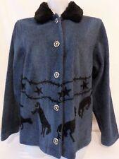ROUGHRIDER Womens Blue Black Horse Broncos Equestrian Western Jacket Sz MEDIUM M