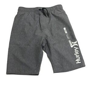Hurley Boys Swim Trunks Shorts Large Gray Drawstrings Inner Lining Back Pocket