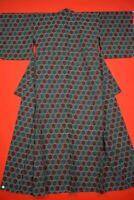 Vintage Japanese Wool Antique BORO KIMONO Kusakizome Dyde Textile/XY21/815