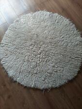 Vintage Retro 70s shaggy rug Retro Circle Round Cream Kitsch pile tufty (1of 2)