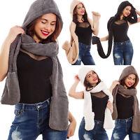 Cappello donna cappuccio eco pelliccia guanti incorporati sciarpa nuovo XXWJ-806