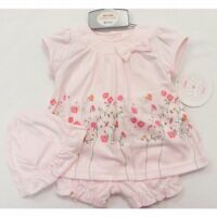 Baby Girl Mini Chic- Baby Pink 3 piece set - Bow Floral Dress, Pants and Hat