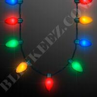 12X Light Up JUMBO Flashing Christmas Bulb Necklace Party Favors