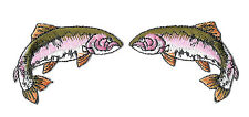 Fishing - Fish - Pink Salmon - Camping - Embroidered Iron On Patches - Set Of 2