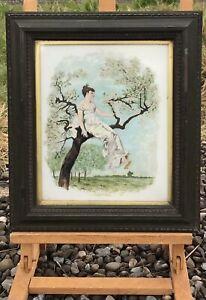 "Vintage Art Deco Framed ""Girl On Tree"" Porcelain Painting ""Apple Blossom"" by J R"