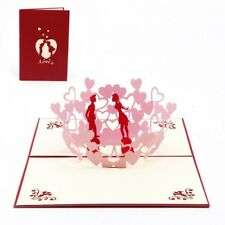 3D Kissing & Love Hearts Card ~ Anniversary Valentine Wedding Popup Greeting