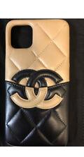 NIB Authentic CHANEL iphone XI Max Pro black lambskin beige black leather case