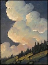 Vintage HAWKINS Western Clouds Landscape Impressionist Oil Art Painting Original