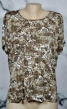 COVINGTON PETITE Black Tan Brown Beige Circle Pattern Knit Top PL Short Sleeves