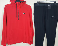 NIKE NSW MODERN SWEATSUIT HOODIE + JOGGERS PANTS RED BLACK RARE NEW (SIZE XL)