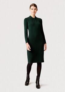 BNWT Hobbs Kelsey Knitted Funnel  Neck Dress Fern Green 16 RRP £119