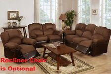Furniture 2 Pc Motion Loveseat, Sofa Chocolate Brown Microfiber Living Room Set