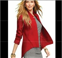CAbi Valentina Red Boiled Wool Jacket Blazer Open Front Women's Size XS