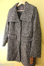 NWT Cole Haan New York City Women's Black White Wool Winter Pea Coat 10 $595
