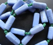 glass bead flapper necklace Q31 vintage art deco blue green