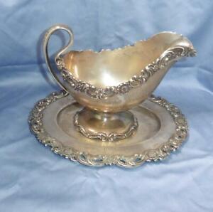Antique Rare Shreve Co Sterling Silver Ornate Gravy/Sauce Boat & Underplate