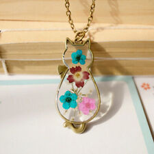 Cat Necklace Pendant Gift Cat Lover Dried Flowers Jewellery Bronze Chain Kitten