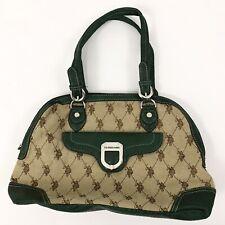 US POLO ASSN Large Bag Handbag Horse Logo Canvas Cream Green