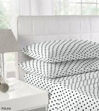 Polka Dot Pillowcases Flannelette 100 % Cotton Soft Touch Black white Pink Blue