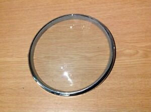 VINTAGE CHROME CLOCK BEZEL ROUND WITH CONVEX GLASS CONCEALED HINGE 160mm Diam