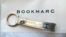 AUTHENTIC MARC JACOBS RARE METALLIC SILVER LEATHER KEY CHAIN RING LUGGAGE LOOP