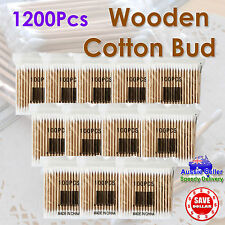 1200pc Wooden Handle Disposable Cotton Head Swab ear Buds Tips Makeup Cosmetic