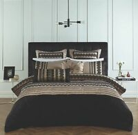 Poseidon Comforter Quilt Set Luxury Velour PolyesterGreek Key DesignLatte