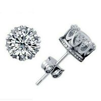 2.25 ct. White Sapphire Round Crown Stud Earrings in Solid Sterling Silver