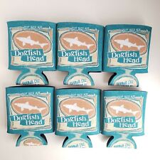 NEW Set of 6 DogFish Head Ale Koozies Coozie Cozy Beer Cooler Shark Funny Teal