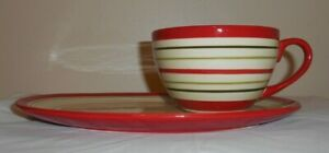 Crate & Barrel Sprig Mug & Plate  Red & Off-Whtie Striped Luncheon Soup Sandwich