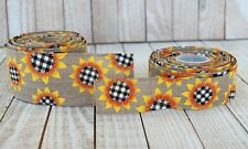 """SUNFLOWER RIBBON ROLL, Fall Autumn Harvest Wired Edge, 1.5"""" or 2.5"""" x 10 yds"""