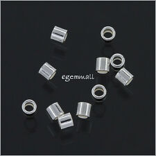 100 Sterling Silver Tube Crimp Beads 1.5x1.5mm #51053