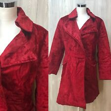 Vintage 70's Red Velvety Pea coat Jacket Coat Steampunk Goth Disco M SOME FLAWS