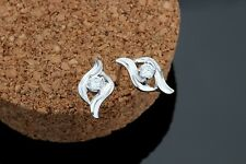 925 Sterling Silver earring CZ Cubic Zirconia clear crystal DLE34