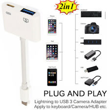 2 in 1 Camera Connection Kit 8Pin to USB OTG Cable Adapter for iPhone iPad