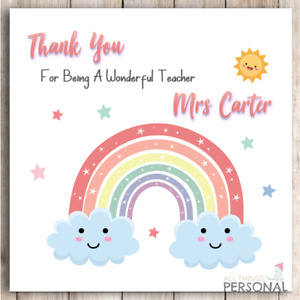 Personalised Thank You Teacher Card Teachers Gift Present Teaching Assistant D6
