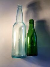 Vintage Blue Green  and Green Bottle 2 Unique Old Bottles