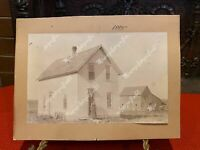CARD PHOTOGRAPH HOMESTEAD 1895 EAST OF ROCK KANSAS WOMAN STANDING ON STEP APPROX